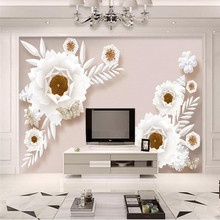 3D wallpaper stereo European retro sofa TV background wall custom mural photo