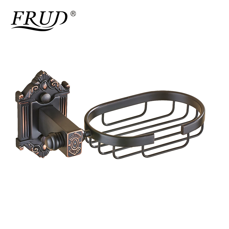 FRUD Soap Dishes Brass Soap Holder Wall Mount Art Carving Black Soap Basket Luxury Bathroom Accessories Metal Soap Box Y18020 стоимость