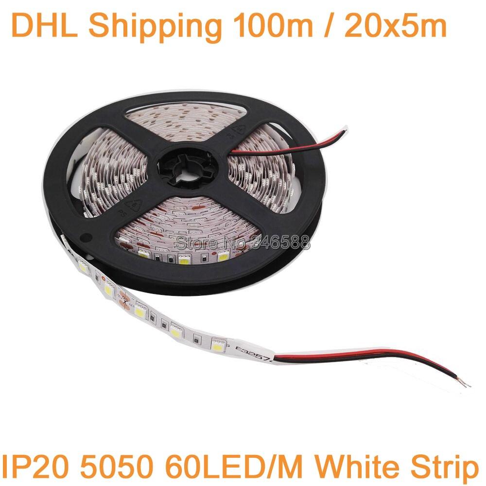 Free DHL 100M/lot! 20x5M 5050 LED Strip DC 12V Flexible LED Light 60 LED/m DC12V LED Tape, Cool White 6500K, IP20 Non-waterproof