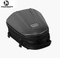 ROCK BIKER Motorcycle Rear Seat Bag Carbon Fiber Knight Bags Fuel Hard Shell Helmet Bag Double Shoulder Waterproof Saddlebag