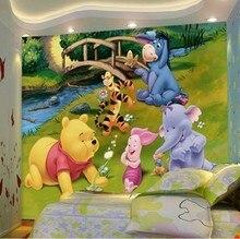 Free shipping Children room cartoon TV setting wall mural 3D wallpaper stereo whole self sticking Winnie wall mural wallpaper