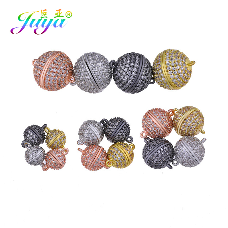 Juya DIY Pearls Jewelry Components AAA Cubic Zirconia Connect Buckle Magnet Clasps Accessories For Women Beads Jewelry Making