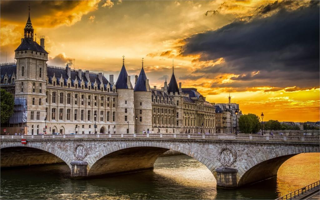 Building paris france Conciergerie bridge sunset river Living room bedroom Home wall art Decor wood frame fabric Posters Prints ...