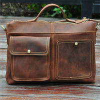 Steelsir High Quality Foreign Trade Import Men Crazy Horse Leather Men Business Briefcase 12 Inches Big Capacity Laptop Bag 2119
