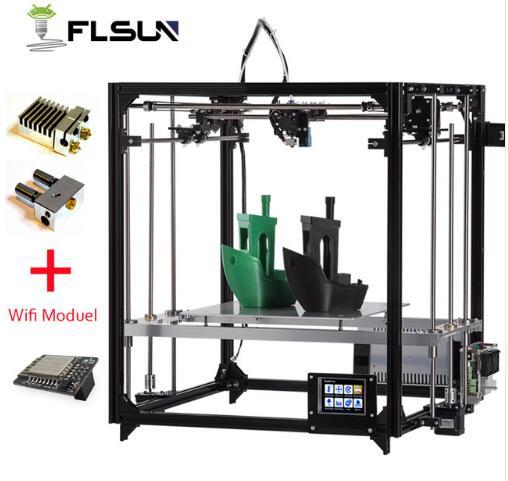 2019 Nouveau 3d Imprimante Cube Kit Grande Taille D'impression En Métal Cadre Double extrudeuse Imprimante 3D Wifi Auto niveau Une Rouleaux filament SD Carte