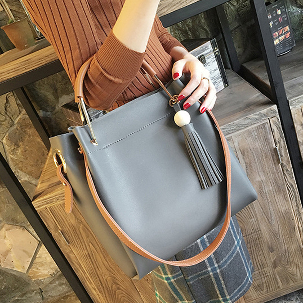 Women Fashion Wooden Beads Tassels High Capacity Tote Bag Crossbody Bag Gray MAY22