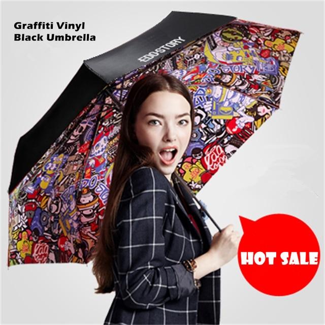 Special Gift Graffiti Black Umbrella Clear Men's Umbrella Windproof Folding Umbrellas Women Compact Rain Umbrella 3 Folding Drop
