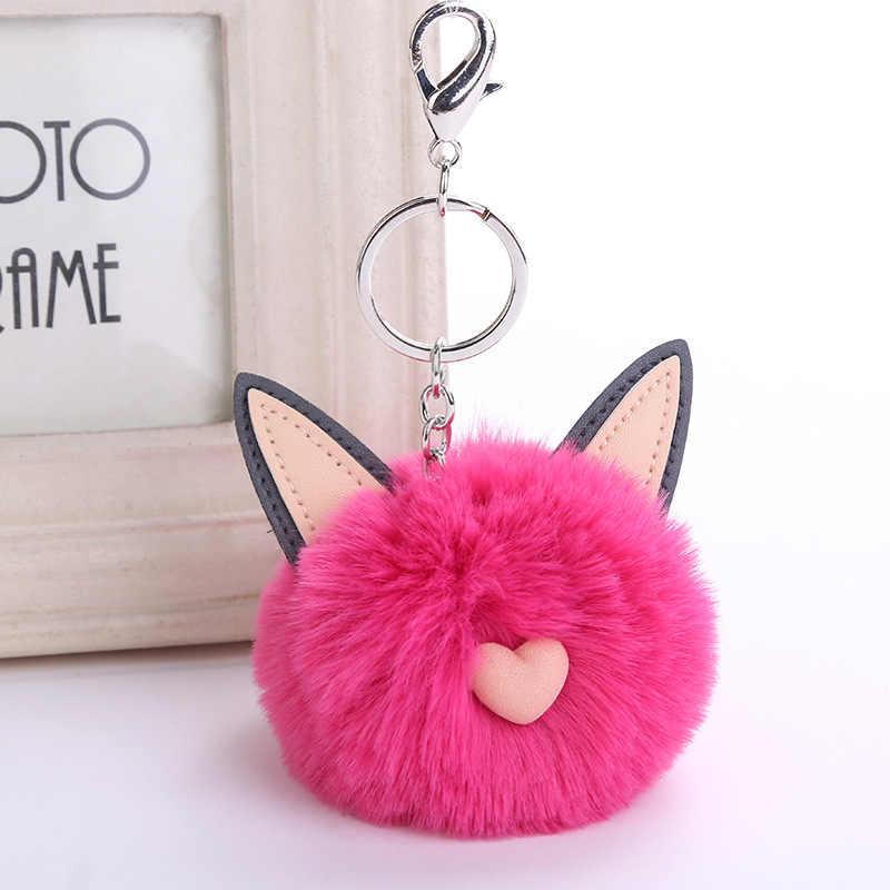 Wiwjygz llavero de piel sintética pompón orejas de gato suaves bolsas colgante llavero bolas de plata llavero bolsa colgante regalo coche colgante