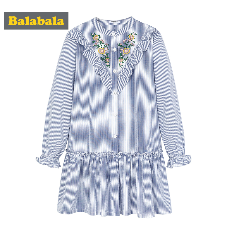 Balabala girls dresses with Floral Embroidery children cotton clothing kids Costumes clothes girl Flare Sleeve dress for girls платье mini balabala 52262140621