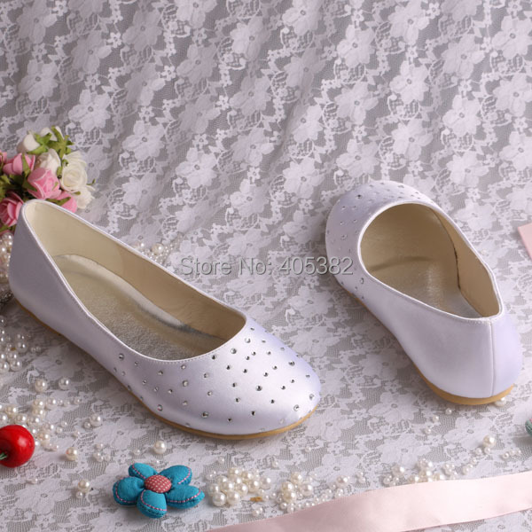Wedopus Mw080 Extra Wide Width Shoes White Women Bridal Satin Ballet Flats With Rhinestones In S From On Aliexpress Alibaba Group