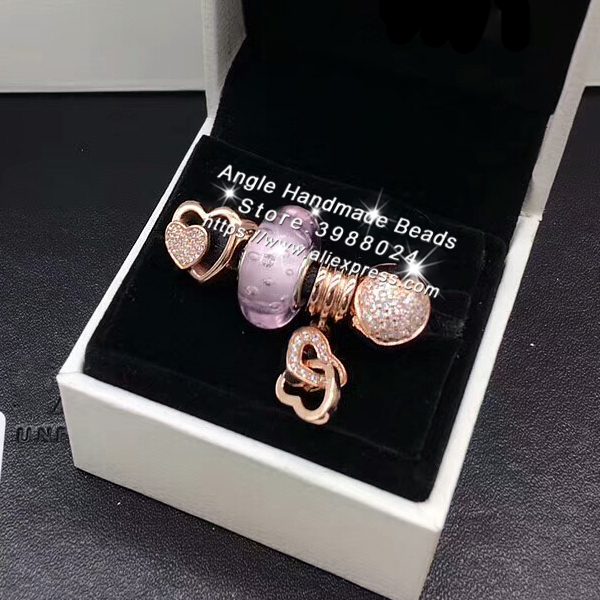 4pcs Rose Gold Jewelry Set I LOVE You Winding Heart CZ Dangle Charms Beads Fit DIY Bracelet Necklaces Jewelry Making Woman Gift tdiyj gift box love heart dangle to mom new collection charms diy stainless steel mesh silver bracelet for mother s day 1set