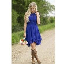 2017 royal blue kurze brautjungfer kleid 2016 sleeveless maid of honor prom kleider gefaltete brautjungfer kleider günstige einfache kleid
