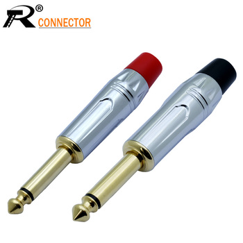 100pcs/50pairs High quality Nickel plated Audio Plug Connector 6.35mm Mono microphone Plug Assembly adapter Black & Red