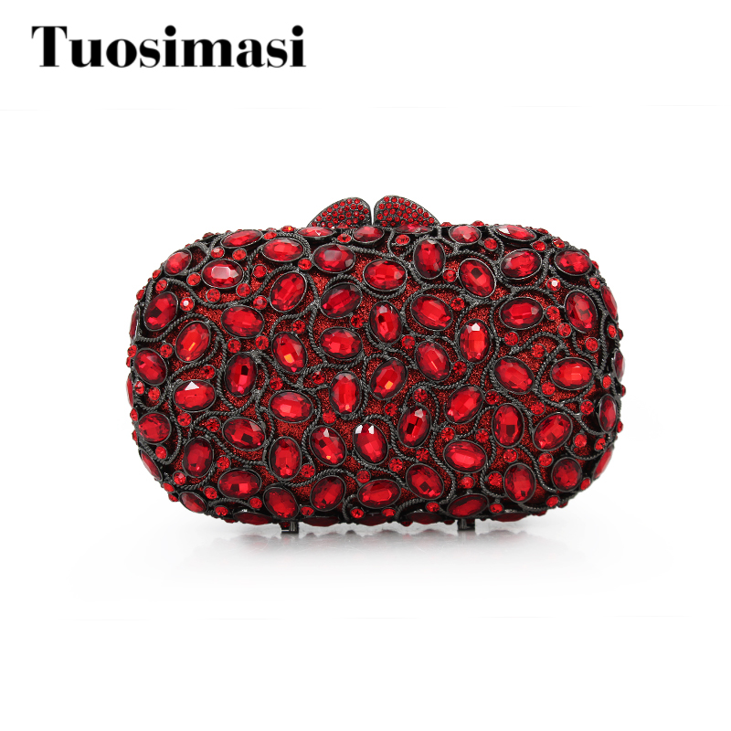 Luxury evening clutch bags red handcraft crystal clutch purse women party evening bags red color handbags(88192A-RB)
