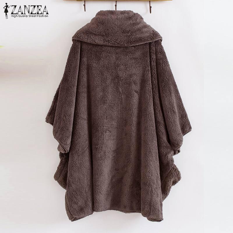 HTB1ylSdX1P2gK0jSZFoq6yuIVXad ZANZEA Women Fluffy Coat Oversized Long Sleeve Jackets Female Button Outwear Winter Warm Poncho Solid Autumn Top Lady Jumpers