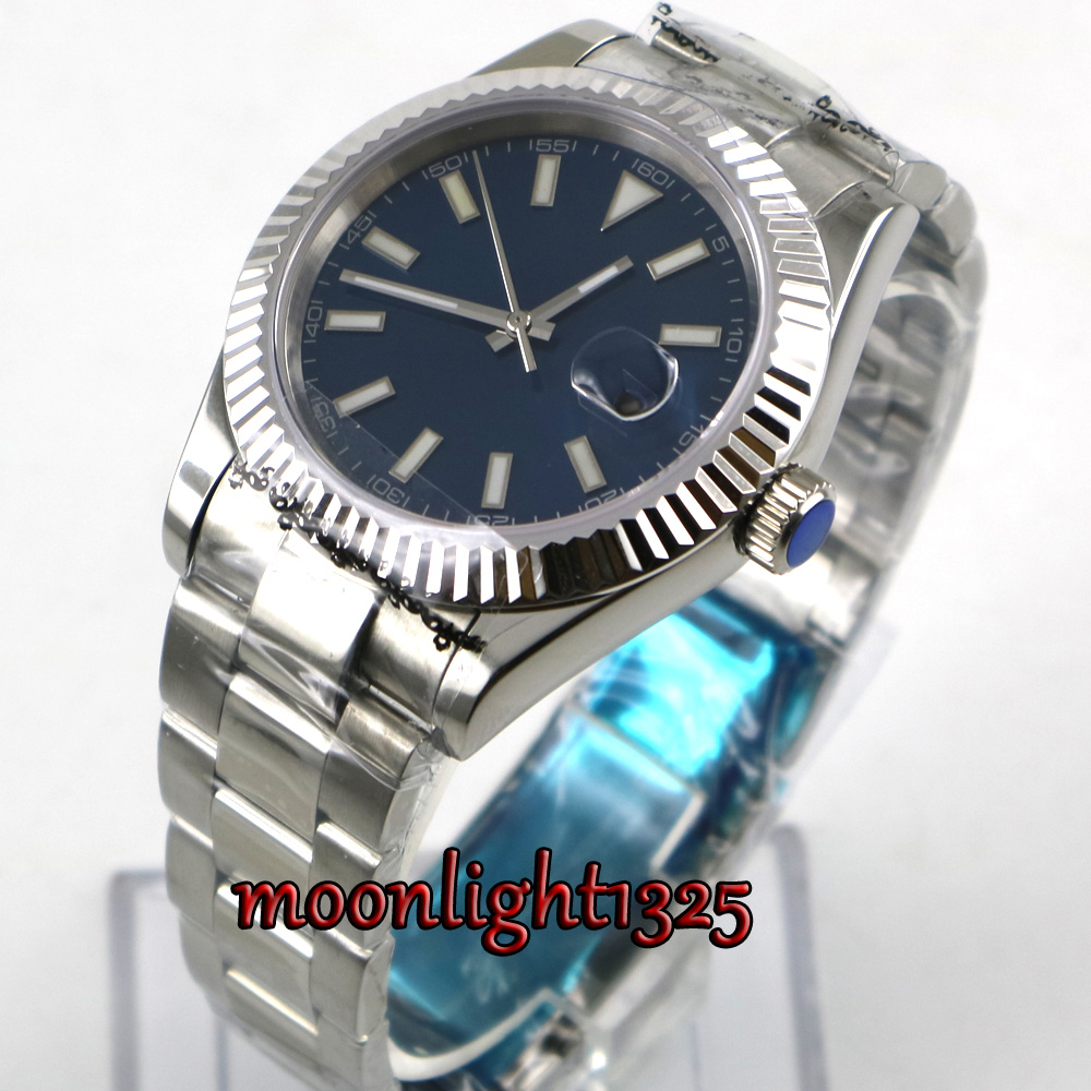 40mm parnis blue dial sapphire glass date Automatic Movement men's Watch 40mm parnis white dial vintage automatic movement mens watch p25