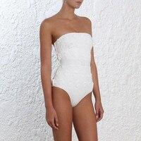 Пикантные белые боди Ручной Аппликации Белый цветок ремень Летний Пляжный Купальник для Для женщин