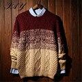 Envío gratis 2015 a la moda Gradient hombres suéter de invierno de manga larga de punto trenzado homme géneros de punto