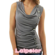 Sleeveless T-Shirt Women Tops 2018 Summer T-Shirts For Casual Solid Button V-Neck Tee Shirt Femme Sexy Laipelar
