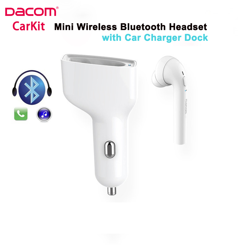 Dacom CarKit Wireless Bluetooth Headset Earphone with Mic Car Charger for Apple iPhone 7 Plus Airpods Android Xiaomi Samsung LG
