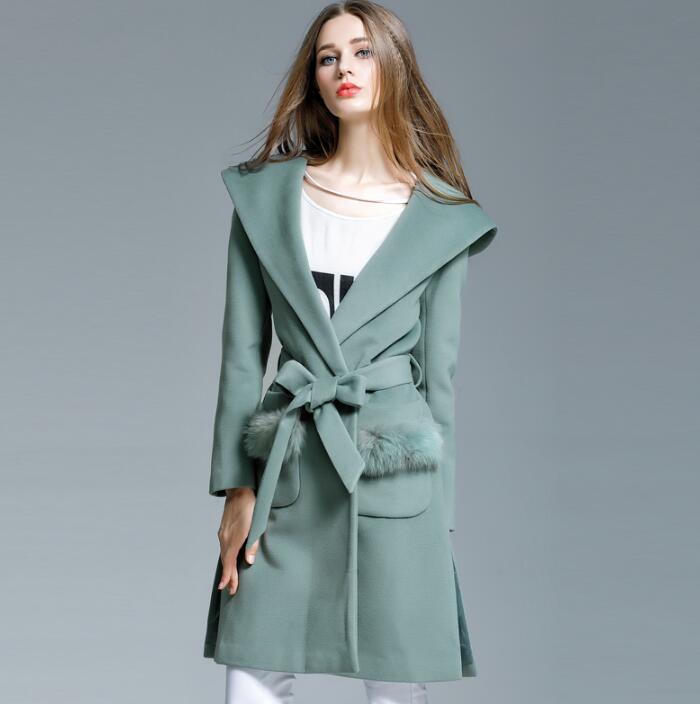 Casaco 2019 noir Feminino Long vert De Vert Printemps Femmes Manteau Jaqueta Femelle Laine Pardessus À Capuchon Mode Femme Hiver Feminina Beige PqxdH7wP