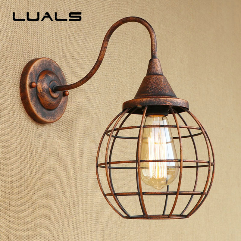 Loft Style Industrial Wall Lamp Creative Rusty Color Vintage Wall Light Coffee Bar Art Deco Lighting Contains Edison LED Bulbs 18cm bohemian style red bronze colour crystal led wall lamp vintage wall light cafe bar store hall coffee shop aisle lighting