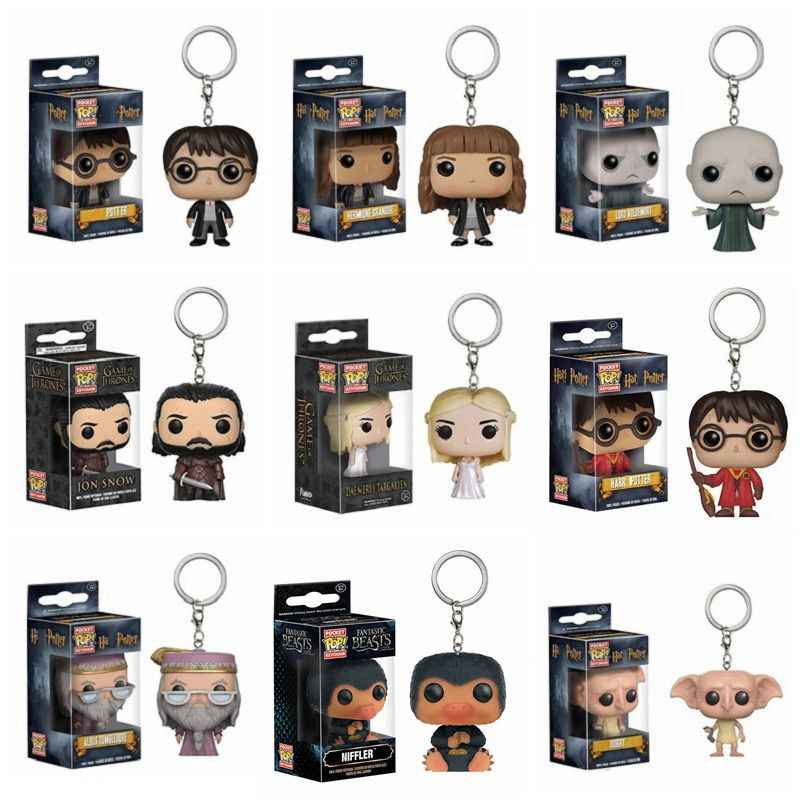 funko Pop Game of Thrones Jon Snow Harri  Potter KeyChain Accessories figures dragon hermion model toy Collection birthday gifts