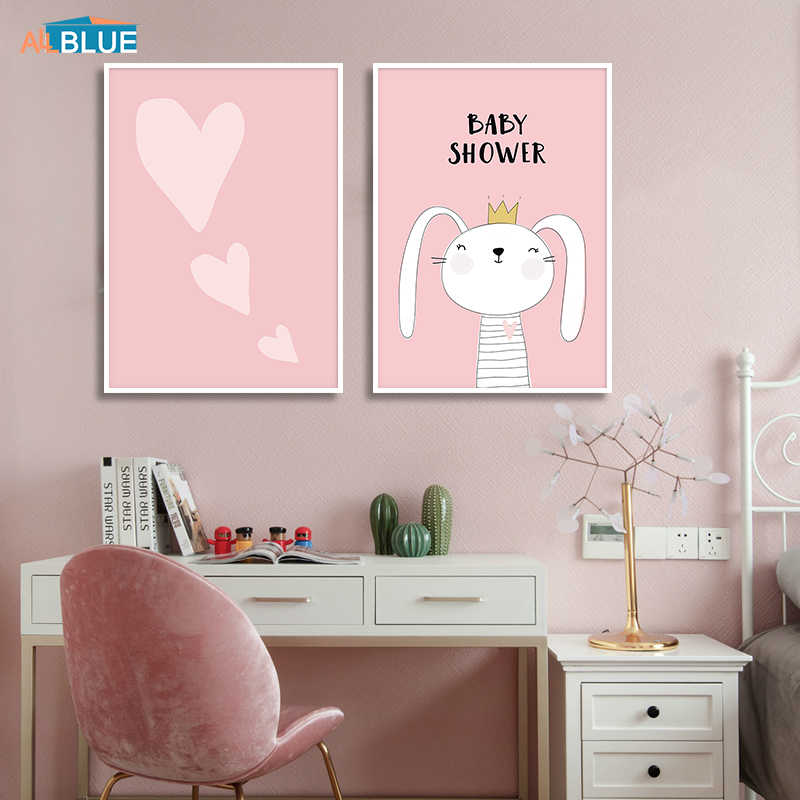 Cute Rabbit Poster Nordic Style Nursery Kids Wall Pictures Baby Girl Canvas Art Prints Pink Heart Wall Painting For Kids Room
