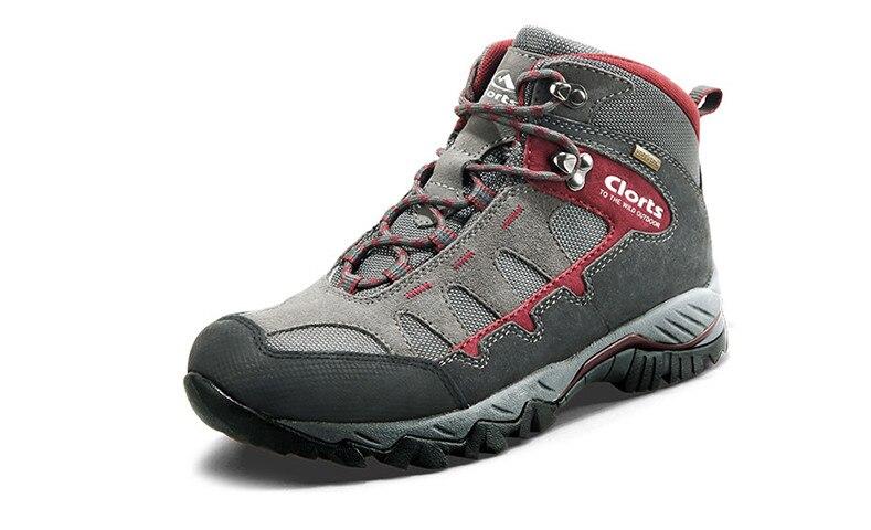 CLORTS chaussures de randonnée en cuir véritable hommes femmes imperméables hiver anti-dérapant chaussures de plein air mi-coupe baskets bottes de montagne