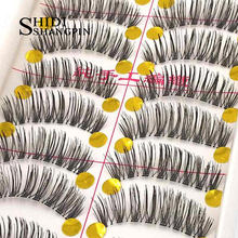 10 Pairs Women False Eyelashes Cross Handmade Natural Fake Eye Lashes Thick Make Up Eyelashes Extensions Tool Faux
