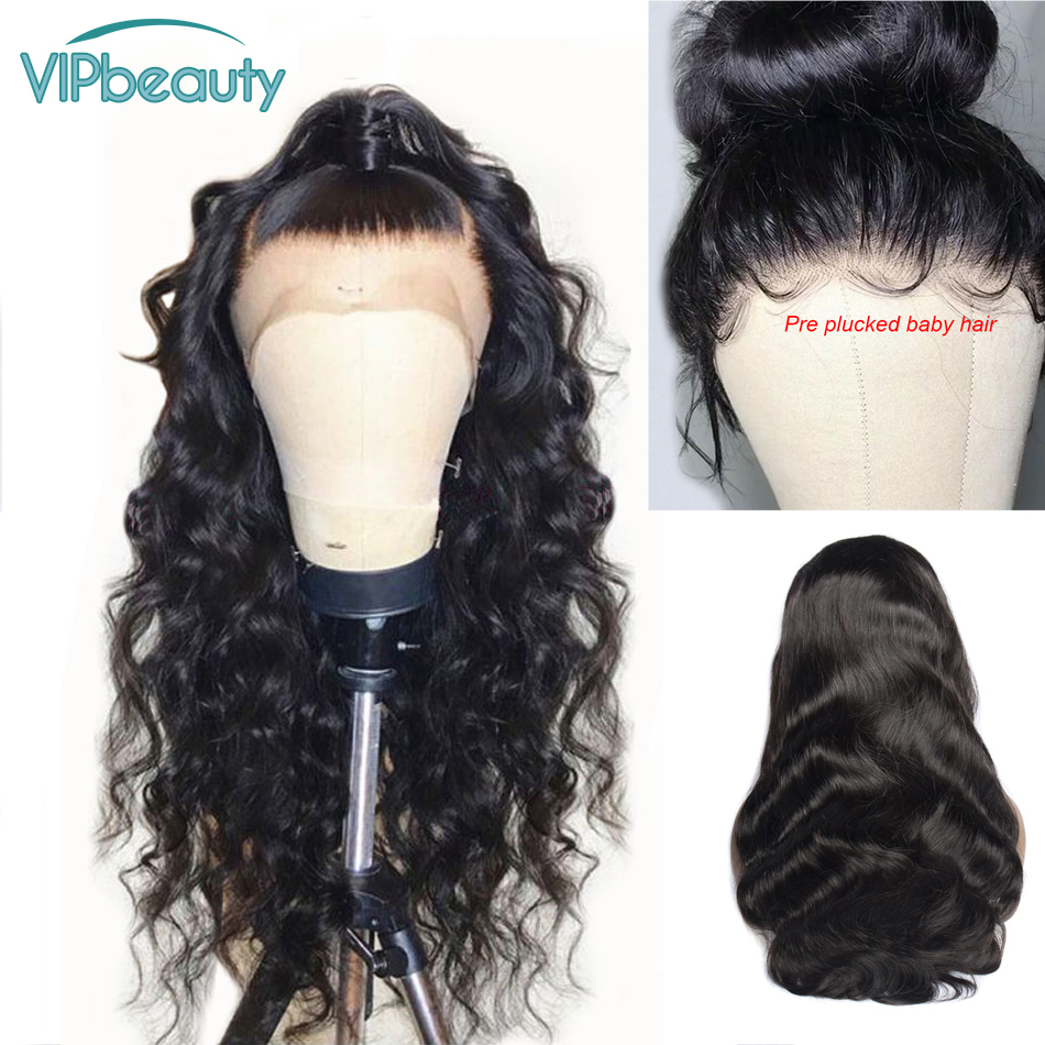 VIPbeauty 360 Lace Frontal Wig With Baby Hair Brazilian Body Wave Remy Lace Front Human Hair