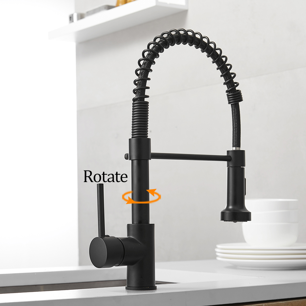 Faucets-Brush Mixers Kitchen-Sink Cold-Water-Crane Tap Spout Single-Lever-Pull-Out-Spring