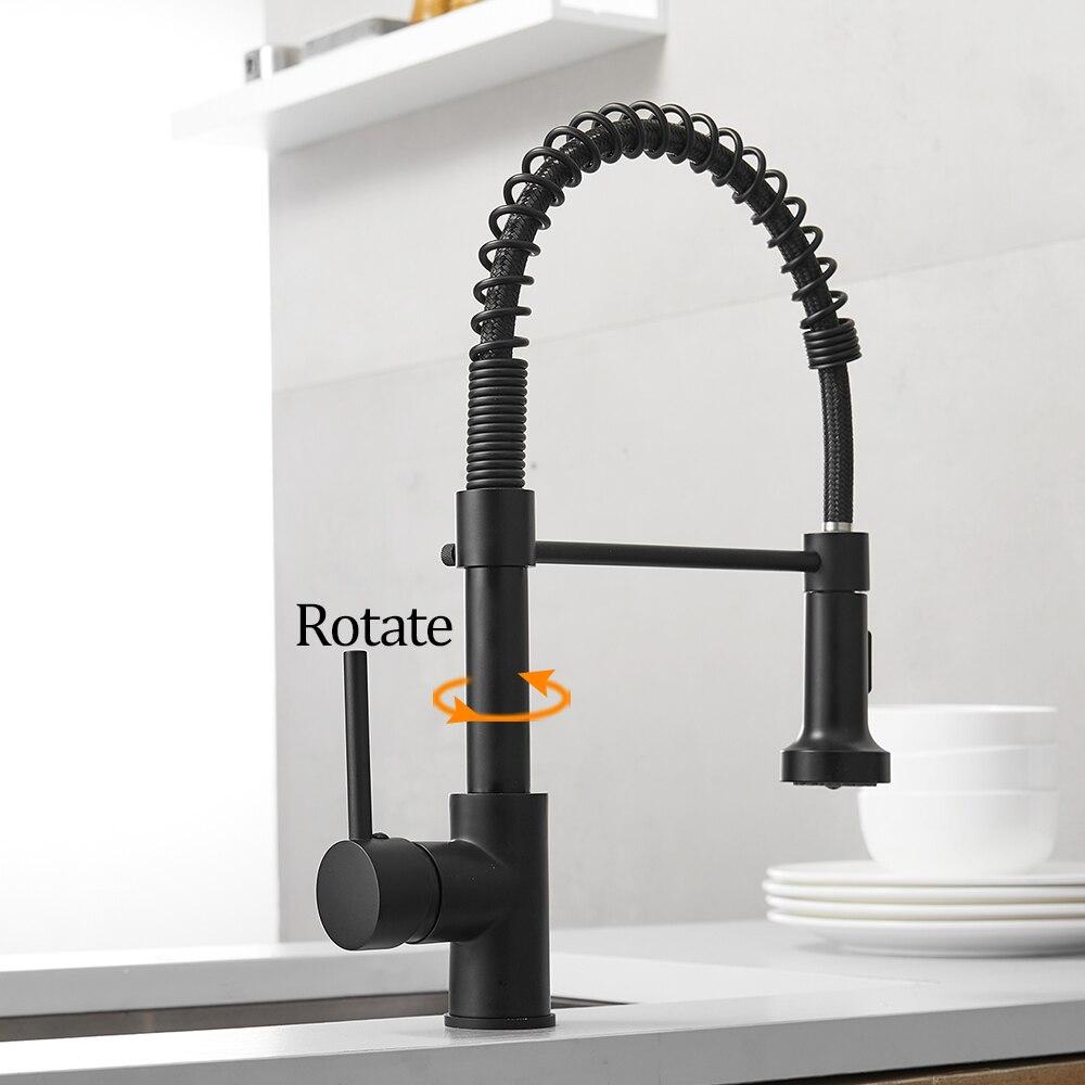 Robinets de cuisine brosse robinets en laiton pour évier de cuisine levier unique tirer ressort bec mélangeurs robinet eau chaude froide grue 9009 - 4