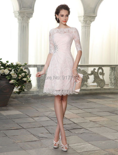 5aadcca6d Vestidos De Coctel 2015 New Elegant White Ivory Short Knee-length Half  Sleeves Lace Cocktail Dress Party Dress Custom Size