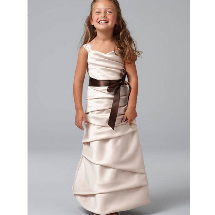 ФОТО New Arrival Vestidos de Comunion Ankel-Length Ruched Vintage Straight Pageant Dresses For Little Girls With Chocolate Sash