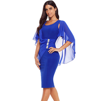 New Women Office Dresses 2018 Autumn Blue white black Waist Pleats Rhinestone Detail Slim Casual Midi Dress Elegant Dress
