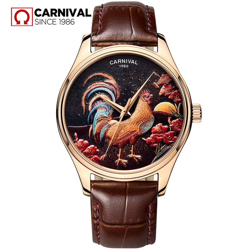 dr grandel лифтинговый концентрат эпигран elements of nature epigran 40018 30 мл Chinese elements of the rooster embossed pattern CARNIVAL Men MIYOTA Automatic Mechanical Wrist Wristwatch Relogio Masculino