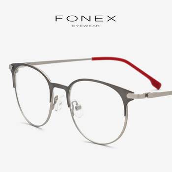 dd74c17aa9 Marco de gafas de aleación de titanio para mujer, gafas ópticas Retro con  prescripción redonda, montura coreana para hombre, gafas sin tornillos, ...