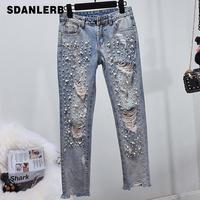 Skinny Ripped Jeans Women Distressed Hole Beads Pearl Women Jeans with Pearls Denim Pencil Pants Plus Size