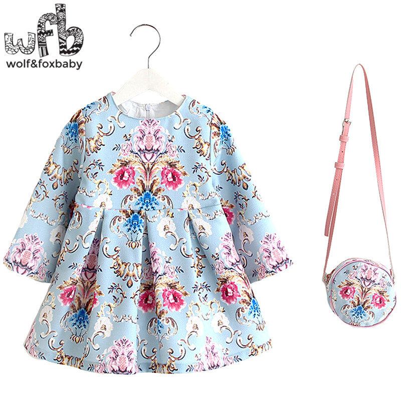 2-8years Dress+Bag/set Linen print dress for Baby Girl Summer Spring Fall Long-Sleeve Princess Blue backgroud palace style 2 10yrs girls dress kids princess dress long sleeve baby girl cute palace style blue and white floral embroidery spring 2017 new