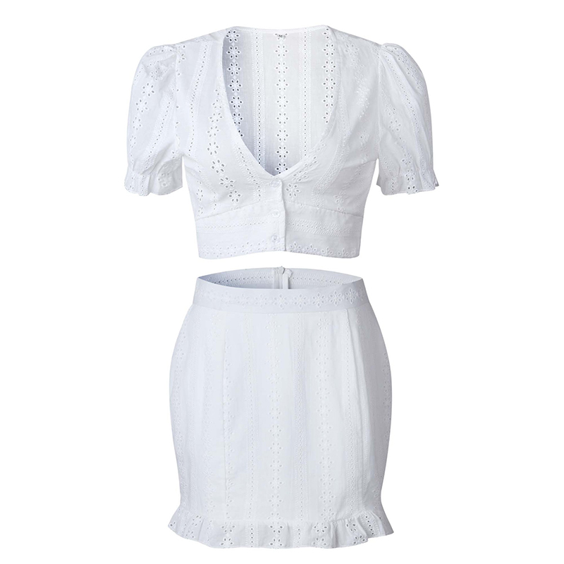 ForeFair V Neck Hollow Out Sexy Bodycon Dress Casual Vestidos Short Sleeve Summer White Dress Two Pieces Set