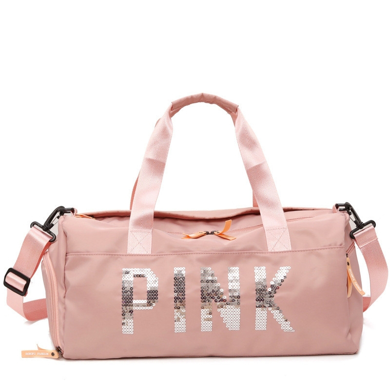 Women Ladies Travel Bag Nylon Pink Girls Shoulder Bag Large Capacity Luggage Sports Training Package Separation Gym Bag