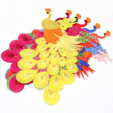 1PC New 3D Craft Sewing Embroidered Iron On Applique Peacock Patch Birds DIY Lace Clothing Accessories