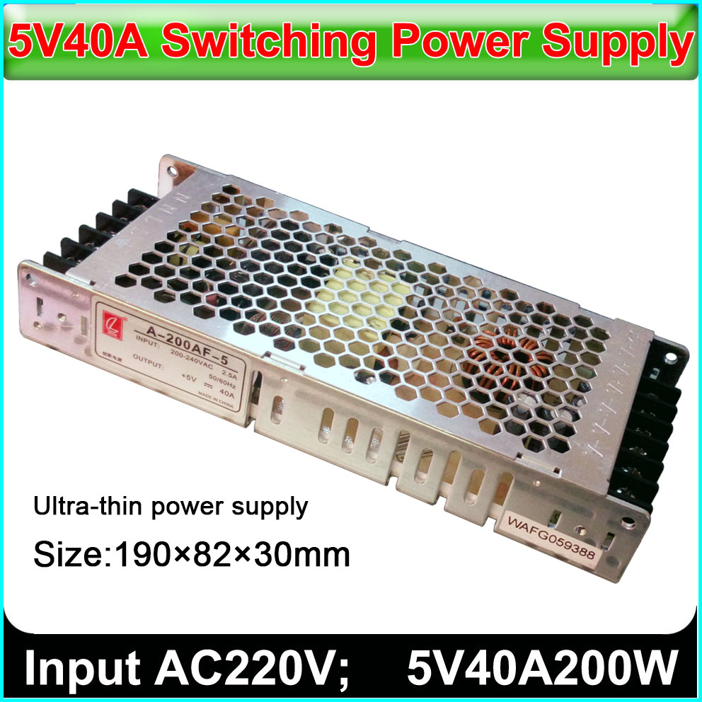Ultra-thin Switch Power Supply 5v40A200w,input Voltage 110v / 230v, Outdoor Indoor Full Color LED Display Dedicated Power Supply
