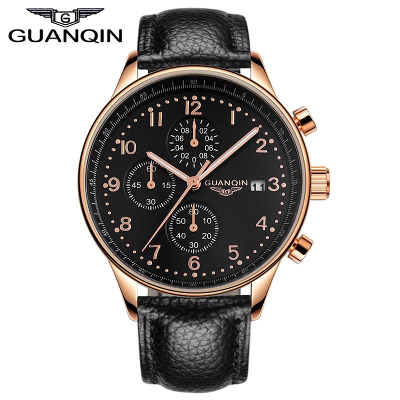 GUANQIN New Fashion Luminous Leather Strap Multifunction Watches Men Quartz Watch Waterproof Wristwatches Male Table Relojes