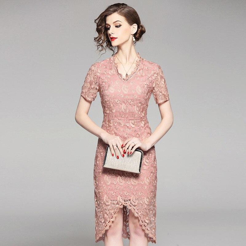 Mode Ciel Out Dentelle Robes Élégant Femmes D'été Hallow Robe Rose 2018 Parti Mince Bleu rose Princesse Brodé Sexy Pu b76yfYg