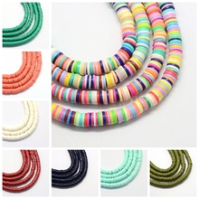 Flat Round Handmade Polymer Clay Beads Spacers Loose Disc Bead for jewelry making Findings DIY 6x1mm,380~400pcs/strand,17.7 F65 цена