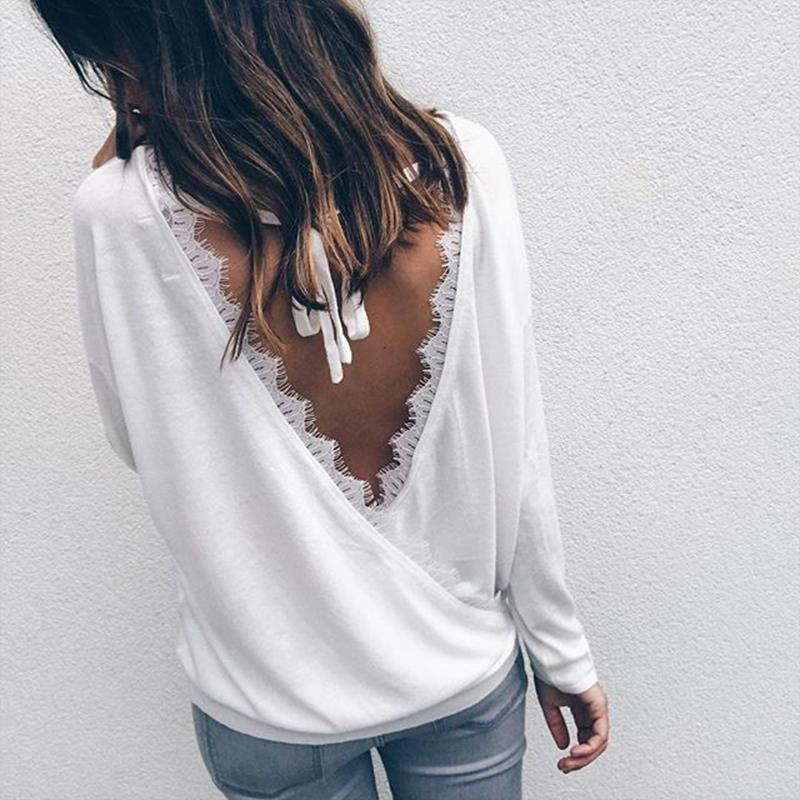Women Autumn White Tops 2017 Chic Backless Tops Long Sleeve Ladies Blouse Blusas Chemise Femme Casual Clothing WS3899Y