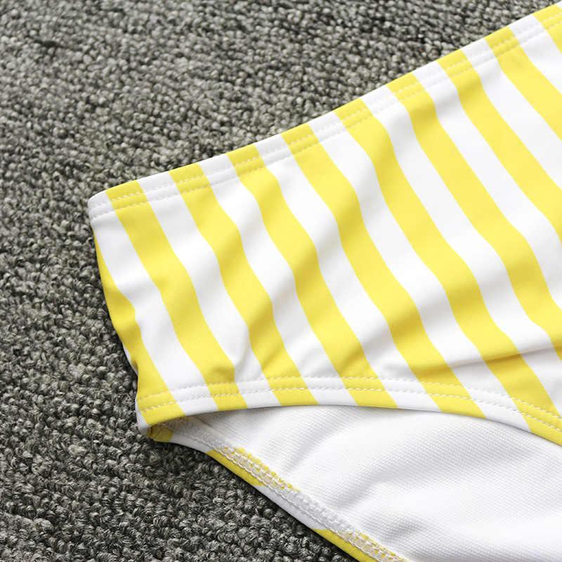 PLAVKY 2019 Retro Sexy żółte paski bez ramiączek Bandeau Biquini cięcia wysokiej talii strój kąpielowy strój kąpielowy stroje kąpielowe kobiety Bikini