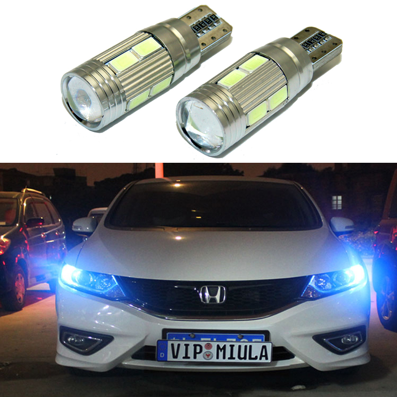 2pcs LED W5W T10 canbus Car Light with Projector Lens for Honda Accord CR-Z Element Fit Insight MDX Odyssey Pilot Ridgeline елена реймс миры для нас часть 1